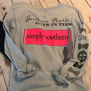 "Simply Southern Long Sleeve Tee ""Girls in Pearls"""